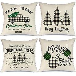 Christmas Farmhouse Home Decor AENEY Buffalo Plaid Christmas Pillow Covers 18×18 Set of 4 Marry Bright Tree Christmas Pillows Rustic Winter Holiday… farmhouse christmas pillow covers
