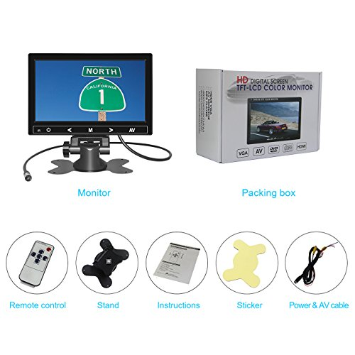 7 Inch TFT LCD Car Monitor 2 Video Input Vehicle Backup Display Car Rear View Monitor for Car Parking,Car DVD,VCR,Car Backup System,Home Security,with Remote Control by Cnhopestar by Cnhopestar (Image #6)