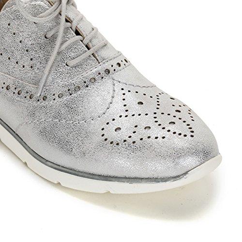 Scarpe con Planos acordonados amp;Scarpe trabajada Zapatos Argento Punta Zapatos OBSEL by FxpnZqgS