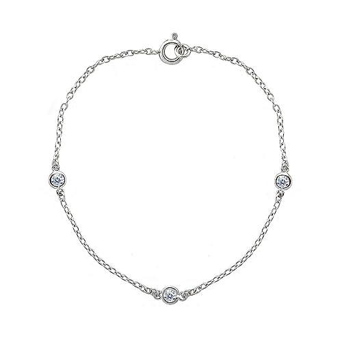 3376b358f1d2c Sterling Silver Cubic Zirconia Station Dainty Chain Bracelet for Girls or  Women
