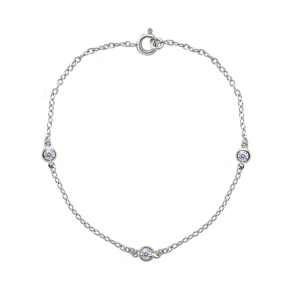 Sterling Silver Cubic Zirconia Station Dainty Chain Bracelet