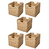Trademark Innovations BSKT-SQNAT-5X Foldable Hyacinth Storage Basket with Iron Wire Frame by (Set of 5)