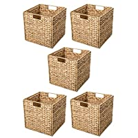 Trademark Innovations Foldable Hyacinth Storage Baskets with Iron Wire Frame (Set of 4)