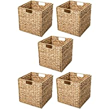 Trademark Innovations Foldable Hyacinth Storage Basket with Iron Wire Frame (Set of 4)