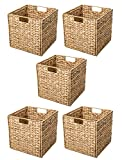storage with baskets Trademark Innovations Foldable Hyacinth Storage Basket with Iron Wire Frame by (Set of 5), Natural