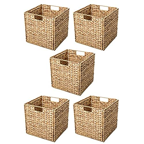 Ordinaire Trademark Innovations Foldable Hyacinth Storage Basket With Iron Wire Frame  By (Set Of 5), Natural