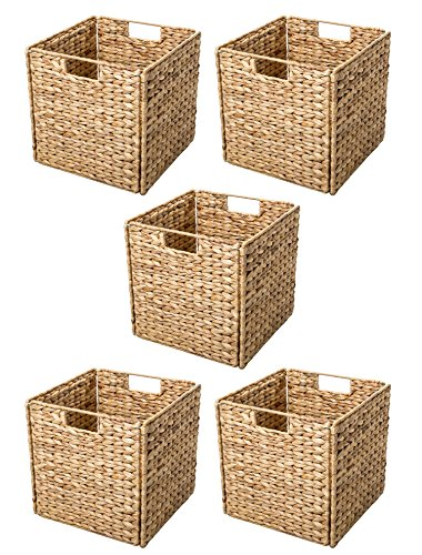 Basket Shelf Wicker (Trademark Innovations Foldable Hyacinth Storage Basket with Iron Wire Frame by (Set of 5), Natural)