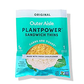 Outer Aisle Gourmet Cauliflower Sandwich Thins | Keto, Gluten Free, Low Carb Cauliflower Bread | Original | 4 pack | 24 Sandwich Thins