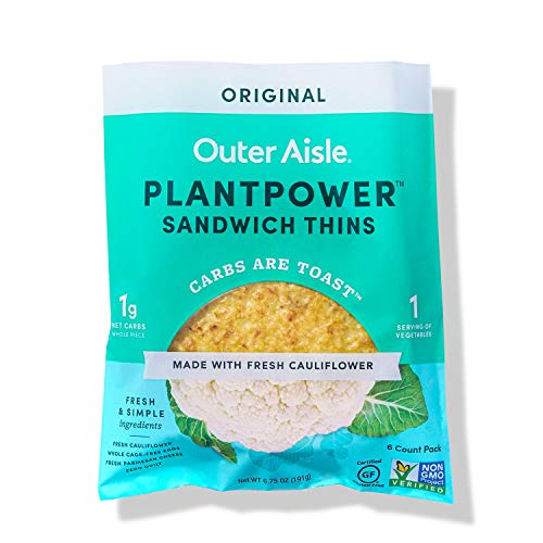 Outer Aisle Gourmet Cauliflower Sandwich Thins | Keto, Gluten Free, Low Carb Cauliflower Bread | Original | 4 pack | 24 Sandwich Thins