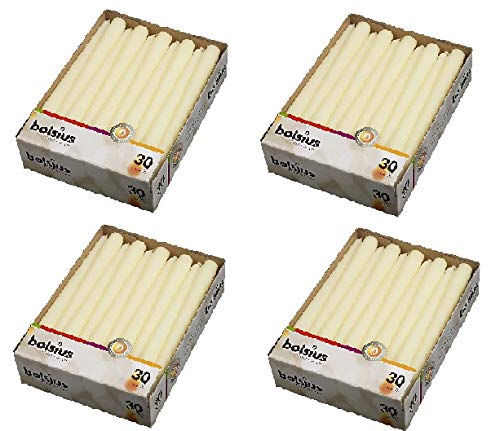 BOLSIUS Set of 30 Ivory Tapered Candles 10 Inch (4 Pack)