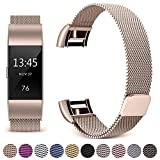 Hotodeal For Fitbit Charge 2 Bands, Band Milanese Loop Stainless Steel Magnet Metal Replacement Bracelet Strap, Wristbands Accessories for Women Men, Champagne