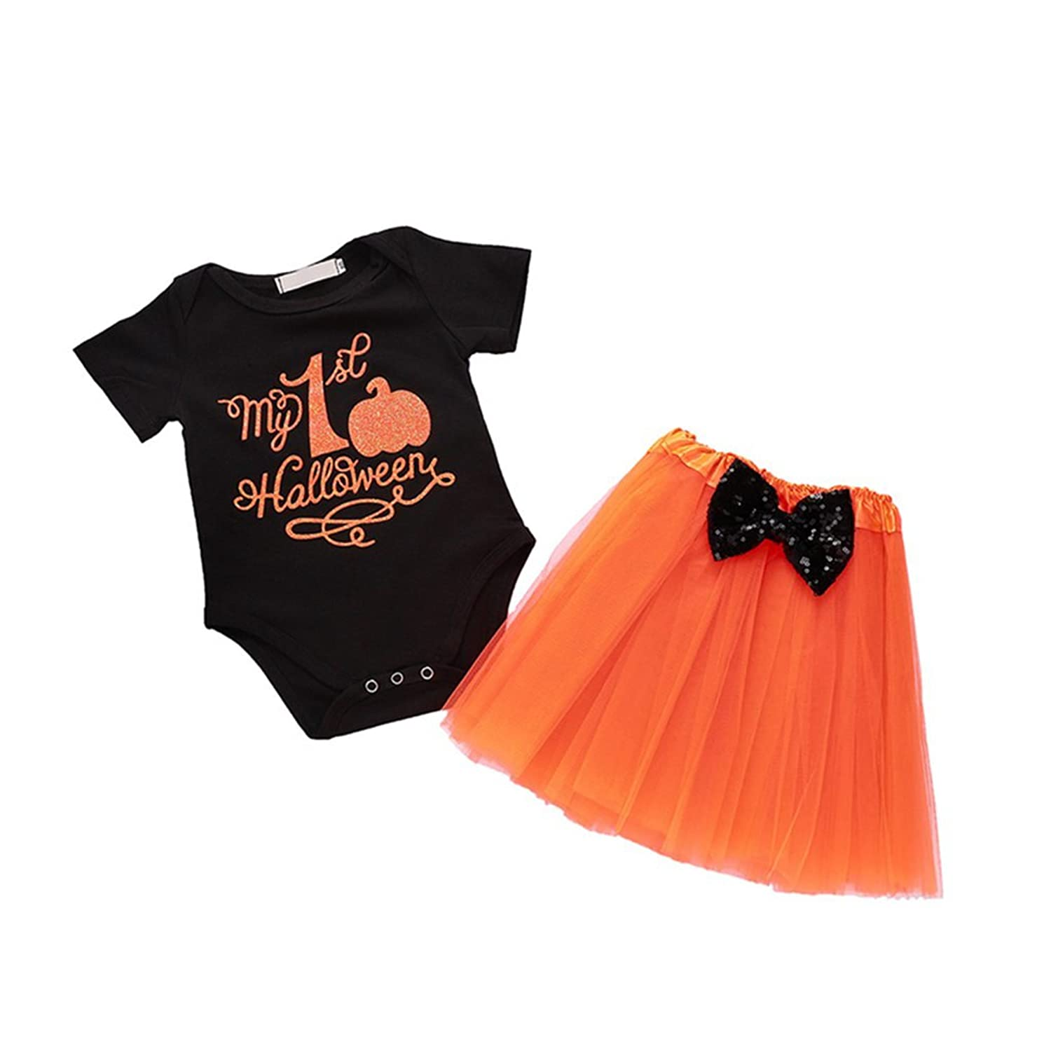 00e9a31df180 Baby Girls Pumpkin Halloween Romper Jumpsuit Tops +Tutu Bowknot Dress,  Cotton+Polyester, More Skin Friendly, Brings Your Kids Ultra Comfortable  Feelings