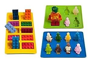 lucentee Silly Ice Cube bandejas Candy moldes, bloques de construcción y cifras con Bono eBook, Modelo:, hardware Tools & Store