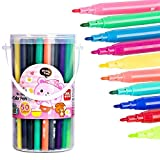 50 Colors Watercolor Pen with Water-Based Colored Art Marker Washable Drawing Portable Colored Pens for Coloring Books Kids Drawing Safe Highlighter Non-Toxic Color Pens by Happlee