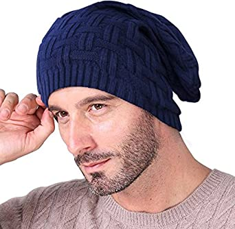 FAS Men and Women Blue Cotton Slouchy Beanie and Skull Cap fc47c419210