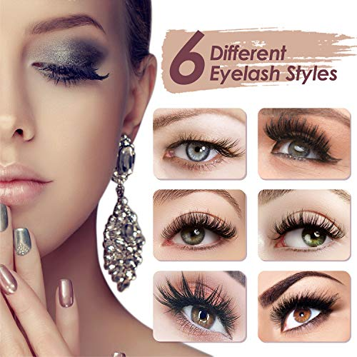 Magnetic False Eyelashes Kit Natural with Magnetic Liquid Eyeliner RXFSP Upgraded 6 Pairs Waterproof Reusable 3D Magnet…