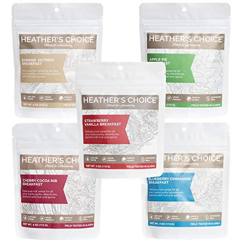 (Heather's Choice, Buckwheat Breakfast Sampler, Allergen-Friendly Dehydrated Food for Backpacking, Camping, Hunting and Travel. With Real Apple, Cherry, Banana, Blueberry & Strawberry (Pack of 5))