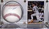 Christian Yelich Signed 2018 OML Baseball - Steiner Sports COA Authenticated - Includes Topps Milwaukee Brewers Trading Card and Ultra Pro Display
