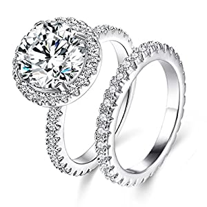 JIANGYUE Classic Wedding Rings 8 Hearts 8 Aorrows AAA Cubic Zirconia CZ Diamond White Gold Plated Halo Big Stone Rings for Women Set Engagement Party Lady Jewelry Size 5 6 7 8 9 10 11