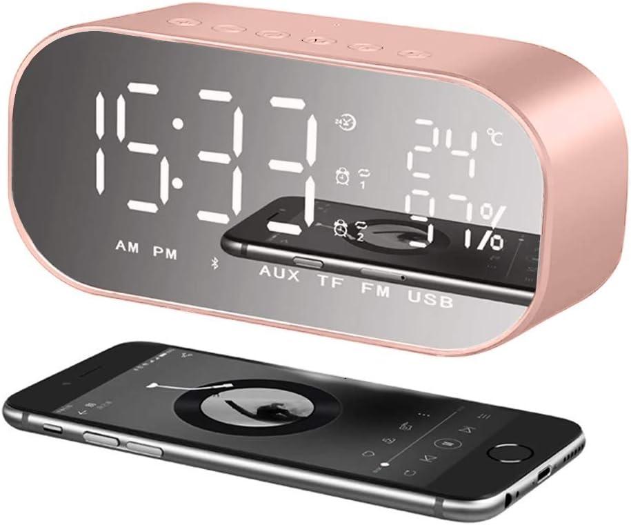 orologio digitale comodino con display LED dimmerabile termometro LTPAG radio FM porta di ricarica USB Sveglia digitale a LED portatile con altoparlante Bluetooth snooze doppio driver stereo