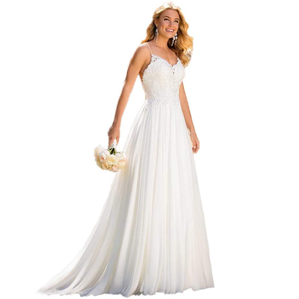 Wedding Dresses for Bride 2019,Beach Vintage A Line Backless Boho Lace  Summer Wedding Dresses Women Plus Size Wedding Dress