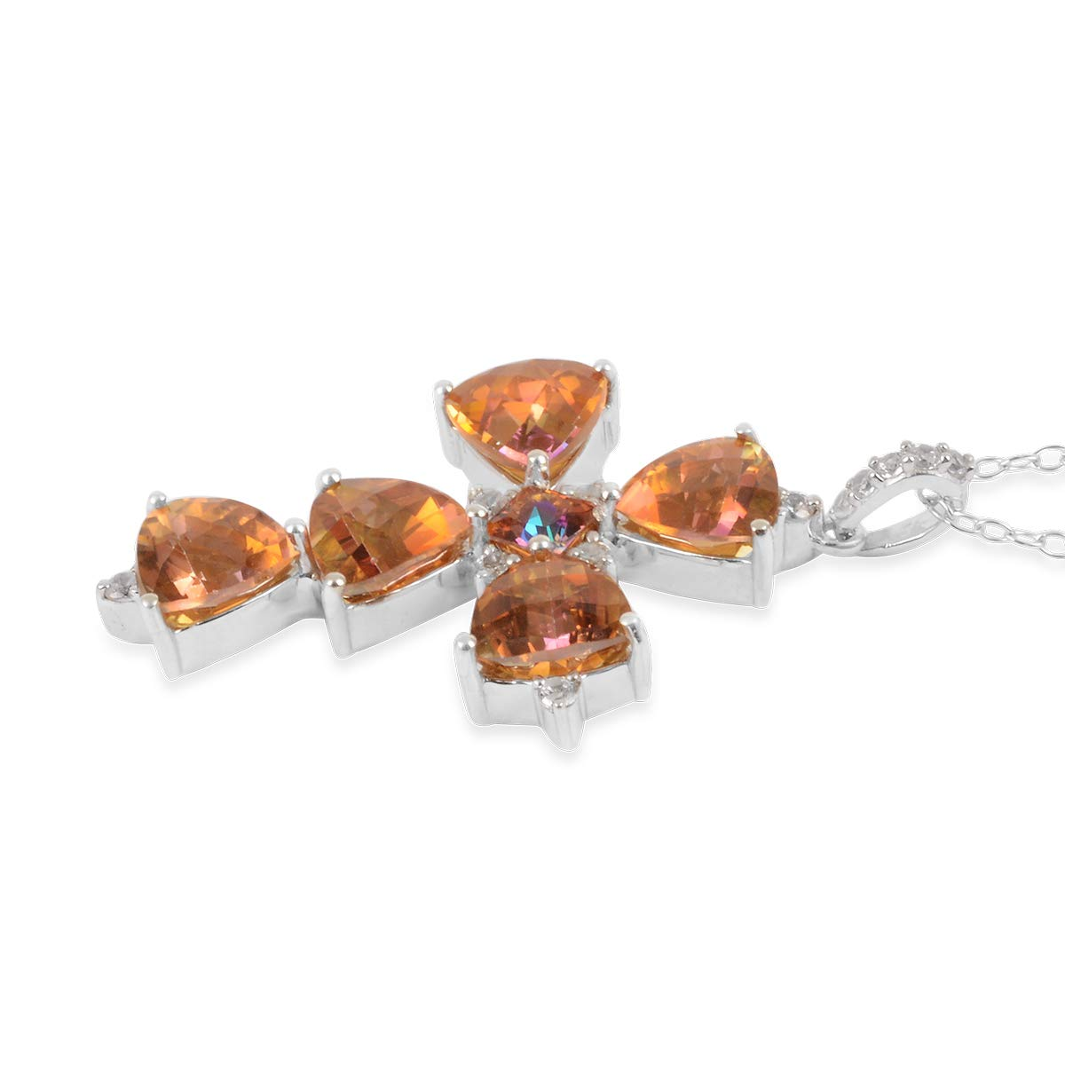 Chain Pendant Necklace 925 Sterling Silver Twilight Coated Topaz White Zircon Jewelry for Women Size 18 Ct 6.4