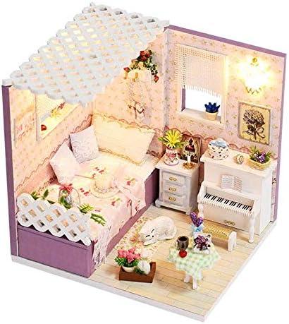 おもちゃ手作りミニモダンアパートメントモデルオルゴール付き、DIYコテージシンプルアーバンクリエイティブパズル手作りモデルヴィラ