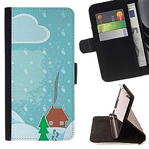 Momo Phone Case / Flip Funda de Cuero Case Cover - Dibujo Niños nieve de la Navidad Azul - LG G4c Curve H522Y (G4 MINI), NOT FOR LG G4