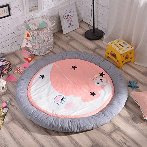 Cartoon Soft Fenced Play Mat  Extra Thick Non Toxic For Kids Flannel 60 Inch Pentagram Round By Hugehug  Rabbit