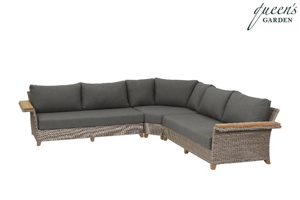 Queen´s Garden 542553 Capo Loungeset 3-teilig Aluminium pulverbeschichtet Gardino®-PRO sand, recycletes Teakholz FSC®-zertifiziert 100% Elastolefin grau