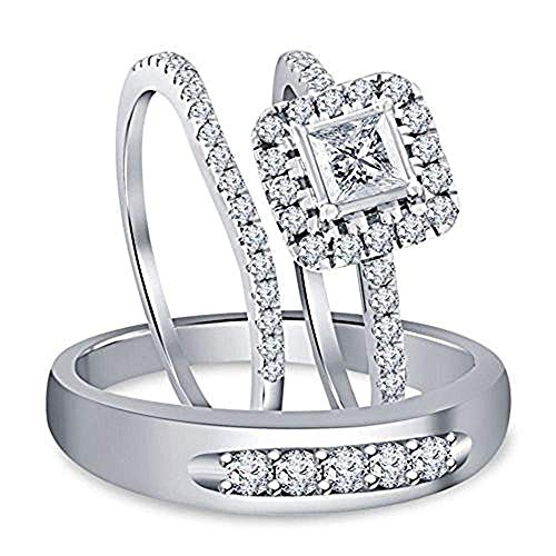 1.80 Ct Diamond 14k White Gold Over His & Her Engagement & Wedding Trio Ring Set 925 Sterling Silver 14k Diamond Trio Set