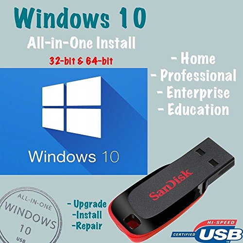 Windows 10 (USB Drive) Home Pro Enterprise Upgrade Repair Install 32/64bit