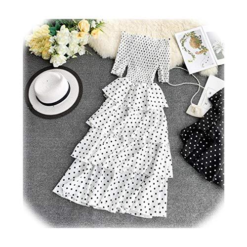 Clustor 2019 Summer Sweet Polka Dot Ruffled Chiffon Dress Women Stretchy Chest High Waist Ladies Elegant Party Vestidos,White,One Size ()