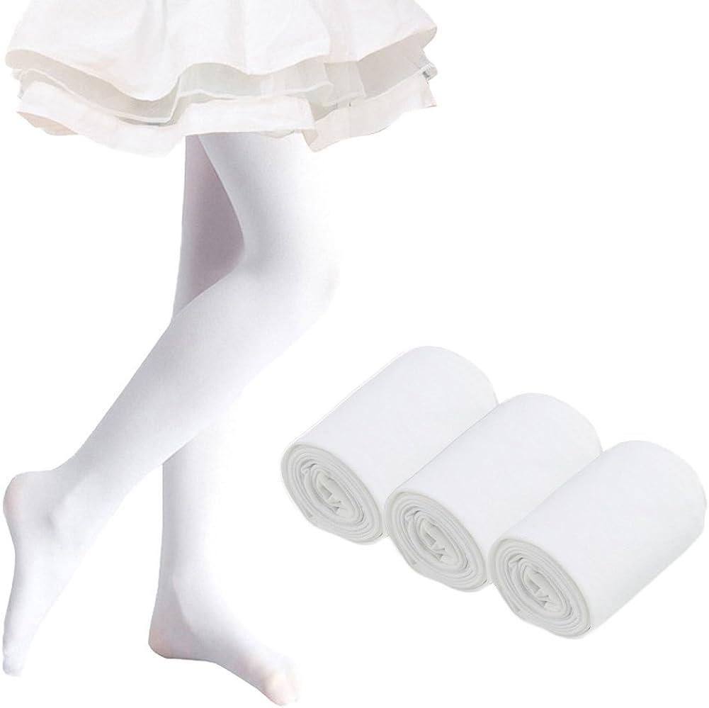 Ehdching Pack of 3 Kids Girls Baby Soft Microfiber TightsBallet Dance Velvet Stockings Pantyhose Tights