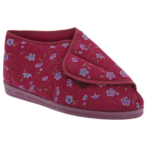 Bootee Andrea Womens Comfylux Wine Slippers Ladies Floral aOA7Zq