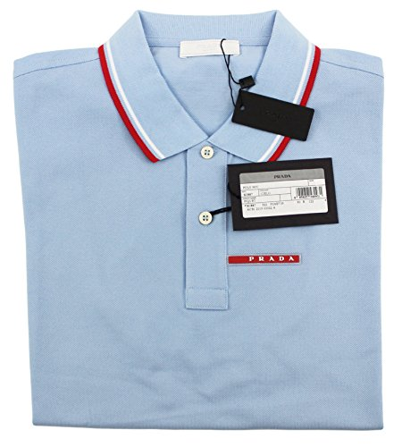 Prada Men's Cotton Piqué Short Sleeve Slim Fit Polo Shirt, Pastel Blue SJJ887 (X-Large - Polo Prada
