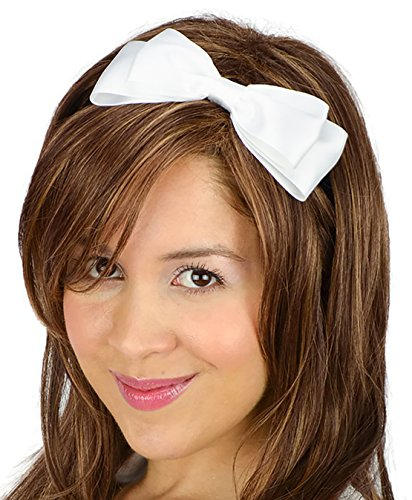 Sweet in the City White Satin Ribbon Hair Bow Headband Everyday Cute Girly Kawaii Dolly Women's Accessories
