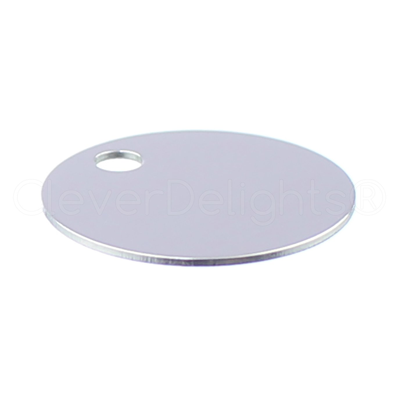 100 Pack - CleverDelights 3/4'' Round Aluminum Stamping Blanks - Shiny Anodized Finish - 22 Gauge (.025'')