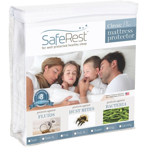 SafeRest Twin Size Classic Plus Hypoallergenic 100% Waterproof Mattress Protector - Vinyl Free (Plastic Cover For Twin Bed)