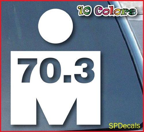 "spdecals Triathlon 70.3 Car Window Vinyl Decal Sticker 5"" Tall (Color: White)"