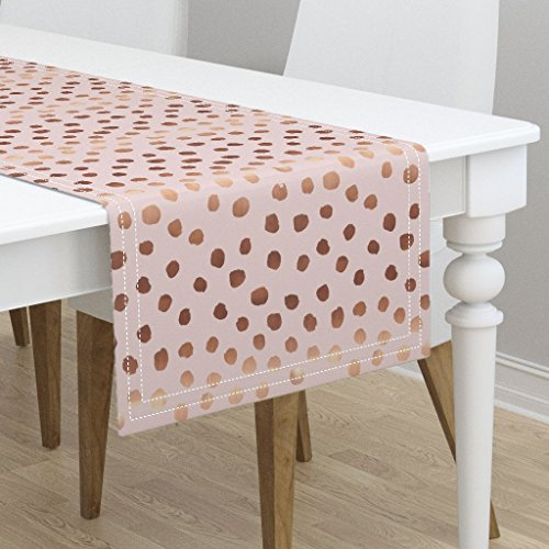Table Runner - Pink Dots Rose Gold Look Copper Tone Feminine Decor Copper Polka Dot by Charlottewinter - Cotton Sateen Table Runner 16 x 72 -