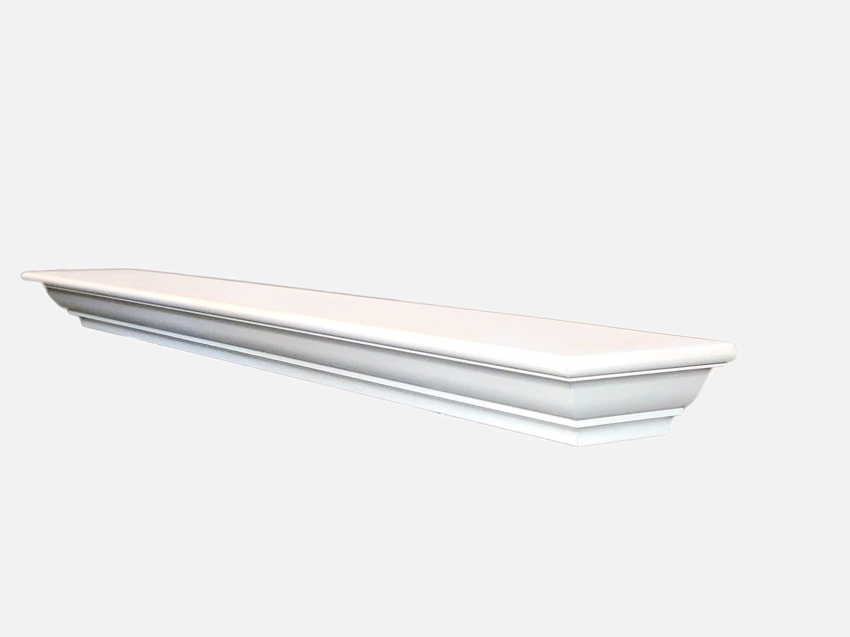 "Sams Creek 60"" Frederick Mantel Shelf, Painted Semi-gloss Primer White, Made in USA"
