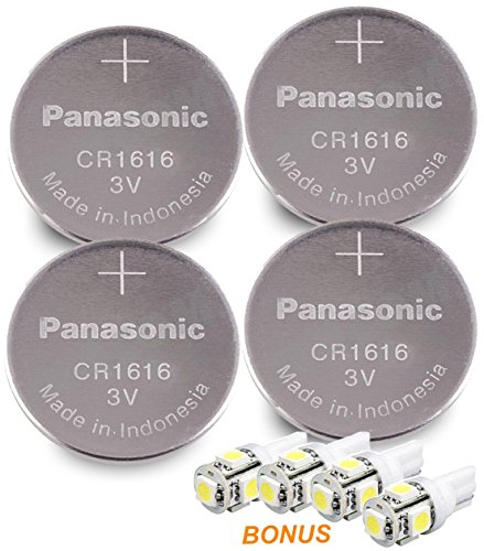 Panasonic ( 4 Pieces - CR1616 + 4 Bonus LED Bulbs ) Lithium Coin Cell Battery