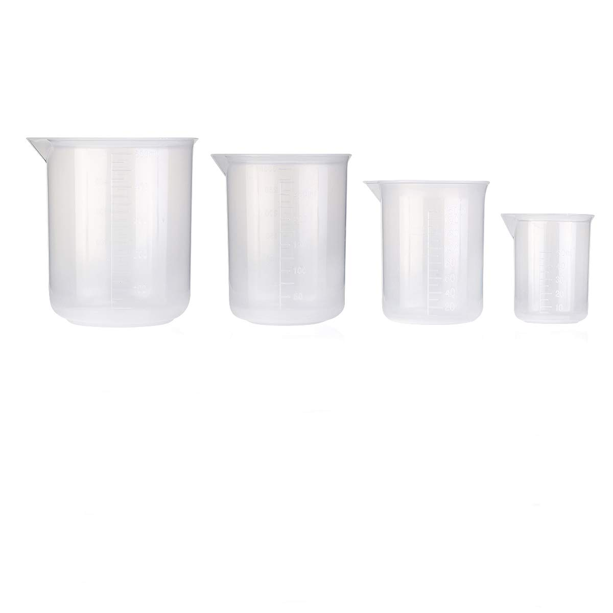ULTNICE Plastic Beaker Measuring Cup Labs Plastic Graduated Beakers 50ml 150ml 250ml 500ml -Pack of 4