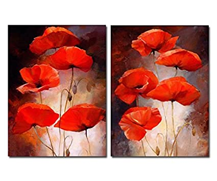 Amazon purple verbena art 2 panels retro red poppies flowers purple verbena art 2 panels retro red poppies flowers pictures prints on canvas walls painting mightylinksfo
