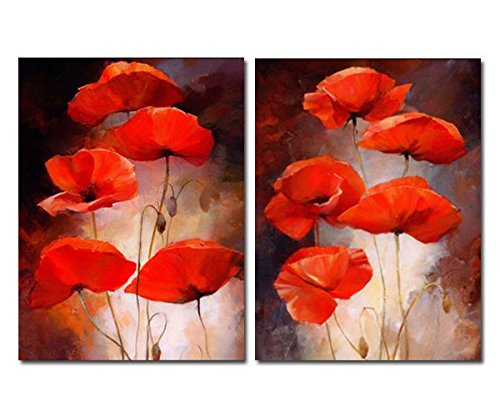 - Purple Verbena Art 2 Panels Retro Red Poppies Flowers Pictures Prints on Canvas Walls Painting, Modern Giclee Folar Artwork for Bedroom Wall Decor, Stretched and Framed,Ready to Hang, Each 16x20 Inch