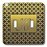 3dRose lsp_36089_2 Elegant Letter K Embossed in Gold Frame Over a Black Fleur-De-Lis Pattern on a Gold Background Double Toggle Switch