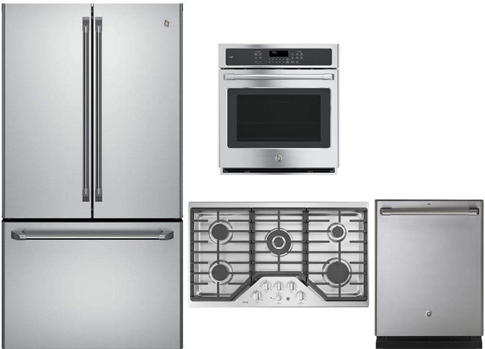 """GE CAFE 4 Piece Stainless Steel Kitchen Package With CWE23SSHSS 36"""" French Door Refrigerator, CGP9536SLSS 36"""" Gas Cooktop, CK7000SHSS 27"""" Electric Wall Oven and CDT835SSJSS 24"""" Dishwasher"""