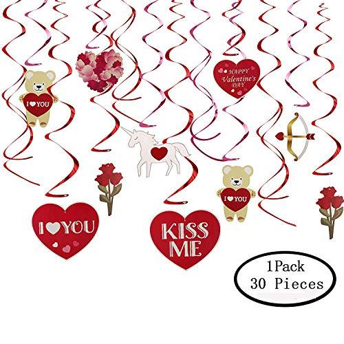 30 Pcs Valentine's Day Foil Swirl Decoration, KissDate