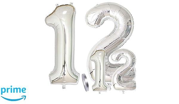 Globos Número 12 Cumpleaños XXL de Plata-Figuras Helio Globo ...